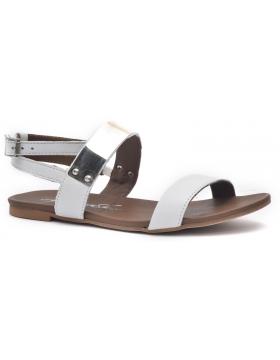 Sandalia plana fabricada en piel saovaje pulsera